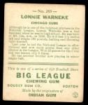 1933 Goudey #203  Lonnie Warneke  Back Thumbnail