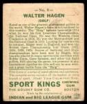 1933 Goudey Sport Kings #8  Walter Hagen   Back Thumbnail