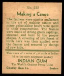 1933 Goudey Indian Gum #212   Making Canoe  Back Thumbnail