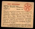 1950 Bowman #12  Joe Golding  Back Thumbnail