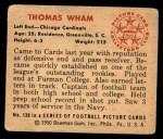 1950 Bowman #130  Thomas Wham  Back Thumbnail