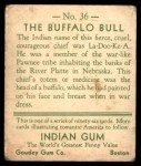 1933 Goudey Indian Gum #36  The Buffalo Bull   Back Thumbnail