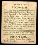 1933 Goudey Indian Gum #42  Tecumseh   Back Thumbnail