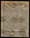 1939 Play Ball #53  Carl Hubbell  Back Thumbnail
