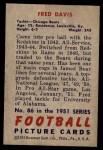 1951 Bowman #86  Fred Davis  Back Thumbnail