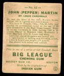 1933 Goudey #62  Pepper Martin  Back Thumbnail