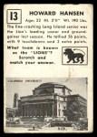 1951 Topps Magic #13  Howard Hansen  Back Thumbnail
