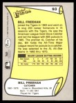 1988 Pacific Legends #93  Bill Freehan  Back Thumbnail