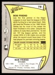 1988 Pacific Legends #78  Bob Friend  Back Thumbnail
