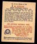 1949 Bowman #16  Al Kozar  Back Thumbnail