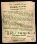 1934 Goudey #14  Willie Kamm  Back Thumbnail