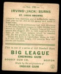 1933 Goudey #198  Jack Burns  Back Thumbnail