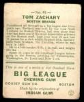 1933 Goudey #91  Tom Zachary  Back Thumbnail