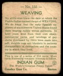 1933 Goudey Indian Gum #155  Weaving   Back Thumbnail