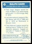 1977 Topps Cloth Stickers #18  Ralph Garr  Back Thumbnail