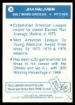 1977 Topps Cloth Stickers #36  Jim Palmer  Back Thumbnail