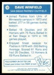 1977 Topps Cloth Stickers #52  Dave Winfield  Back Thumbnail