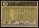 1961 Topps #150  Willie Mays  Back Thumbnail