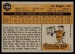 1960 Topps #166  Chuck Essegian  Back Thumbnail