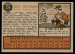 1962 Topps #278  Ken Johnson  Back Thumbnail
