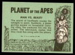 1969 Topps Planet of the Apes #7   Man Vs Beast Back Thumbnail