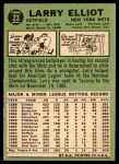 1967 Topps #23  Larry Elliot  Back Thumbnail