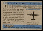 1957 Topps Planes #3 BLU  F7u-3 Cutlass Back Thumbnail