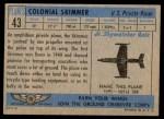 1957 Topps Planes #43 BLU  Colonial Skimmer Back Thumbnail