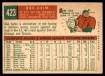 1959 Topps #423  Bob Grim  Back Thumbnail