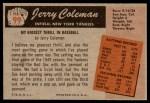 1955 Bowman #99  Jerry Coleman  Back Thumbnail