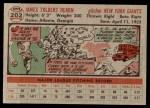 1956 Topps #202  Jim Hearn  Back Thumbnail
