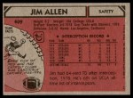 1980 Topps #409  Jim Allen  Back Thumbnail