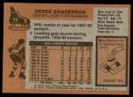 1975 Topps #73  Derek Sanderson   Back Thumbnail