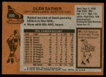 1975 Topps #222  Glen Sather   Back Thumbnail