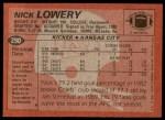 1983 Topps #290  Nick Lowery  Back Thumbnail