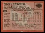 1983 Topps #102  Tommy Kramer  Back Thumbnail