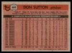 1981 Topps #605  Don Sutton  Back Thumbnail