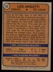 1974 Topps #63  Lou Angotti  Back Thumbnail