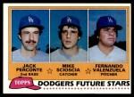 1981 Topps #302   -  Fernando Valenzuela / Mike Scioscia / Jack Perconte Dodgers Front Thumbnail