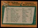 1978 Topps #206   Maple Leafs Team Checklist Back Thumbnail