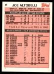 1983 Topps Traded #3 T Joe Altobelli  Back Thumbnail