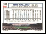 1992 Topps Traded #38 T Mike Gallego  Back Thumbnail