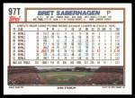 1992 Topps Traded #97 T Bret Saberhagen  Back Thumbnail