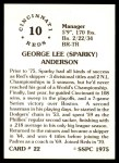 1976 SSPC #22  Sparky Anderson  Back Thumbnail