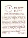 1976 SSPC #404  Cecil Cooper  Back Thumbnail