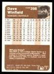 1983 Fleer #398  Dave Winfield  Back Thumbnail