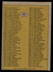 1974 Topps #391   Checklist 265-396 Back Thumbnail
