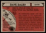1980 Topps #161  Dave Dalby  Back Thumbnail
