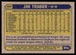 1987 Topps #484  Jim Traber  Back Thumbnail