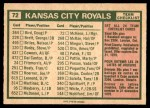 1975 O-Pee-Chee #72   -  Jack McKeon Royals Team Checklist Back Thumbnail